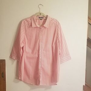 Womans candy colors striped button up blouse